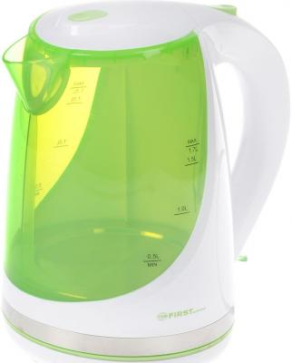 Чайник First FA-5427-8-GN 2200 Вт зелёный 1.7 л пластик чайник first fa 5427 6 white red 2200 вт 1 7 л пластиковый дисковый нагреватель