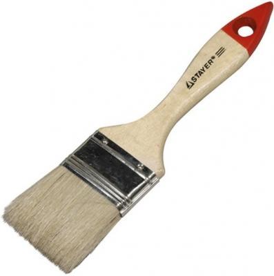 Кисть плоская Stayer UNIVERSAL-STANDARD натуральная щетина деревянная ручка 75мм 0101-075 кисть плоская stayer universal standard натуральная щетина деревянная ручка 38мм 0101 038