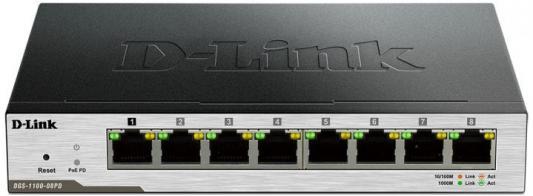 Коммутатор D-LINK DGS-1100-08P/B1A управляемый 8 портов 10/100/1000Mbps коммутатор d link dgs 1100 08p управляемый 8xgblan poe