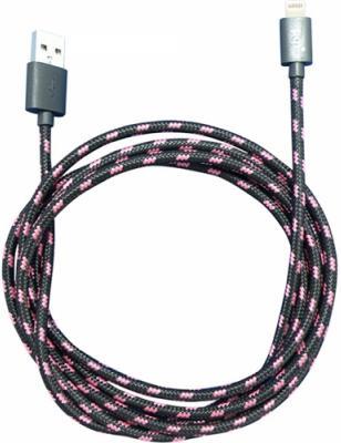Кабель Lightning 0.9м PQI i-Cable Mesh круглый черно-розовый 6PCT-008R0003A