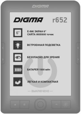 "Электронная книга Digma R652 6"" E-Ink 4Gb серый"