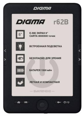 "Электронная книга Digma R62B 6"" E-Ink 4Gb черный"