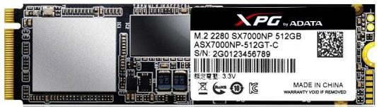 Твердотельный накопитель SSD M.2 512GB A-Data XPG SX7000 Read 1750Mb/s Write 860Mb/s PCI-E ASX7000NP-512GT-C накопитель ssd a data adata ultimate su800 512gb asu800ss 512gt c