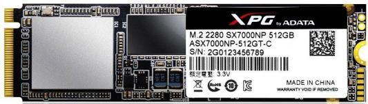 Твердотельный накопитель SSD M.2 512GB A-Data XPG SX7000 Read 1750Mb/s Write 860Mb/s PCI-E ASX7000NP-512GT-C