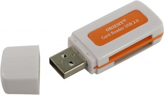 Картридер внешний ORIENT CR-011R SDHC/SDXC/microSD/MMC/MS/MS Duo/M2 USB 2.0 белый карт ридер cbr human friends speed rate glam синий цвет all in one micro ms m2 sd t flash ms duo mmc sdhc dv ms pro ms ms pro duo usb 2 0