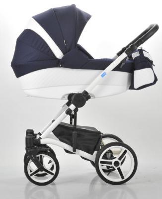 Коляска 3-в-1 Mr Sandman West-East Premium (50% кожа/белый перфорированный - темно-синий в принт/CH04)