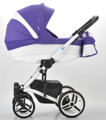 Коляска 3-в-1 Mr Sandman West-East Premium (50% кожа/белый перфорированный - фиолетовый в принт/CH03)