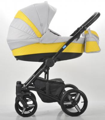 Коляска 3-в-1 Mr Sandman West-East Premium (50% кожа/жёлтый перфорированный - светло-серый/CH08)
