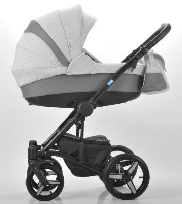 Коляска 3-в-1 Mr Sandman West-East Premium (50% кожа/серый перфорированный - светло-серый в принт/CH06)