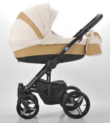Коляска 3-в-1 Mr Sandman West-East Premium (50% кожа/темно-бежевый перфорированный - бежевый в принт/CH07)
