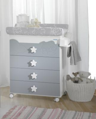Купить Комод пеленальный Micuna Dolce Luce (white/grey), белый/серый, ДСП / МДФ, Комоды пеленальные