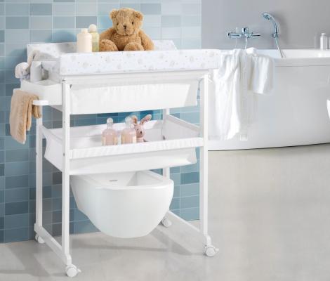 Комод пеленальный с ванночкой Micuna B-1158 Plus (white/матрасик beige bears)