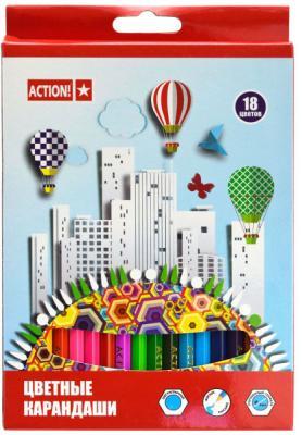 Набор цветных карандашей Action! ACP360-18 18 шт набор для праздника action русалка 18 см 10 шт api0119