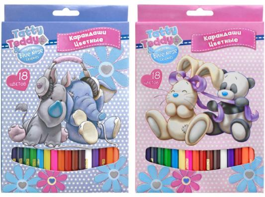 Набор цветных карандашей Action! Tatty Teddy and Blue Nose Friends 18 шт в ассортименте action пенал тубус tatty teddy цвет розовый голубой