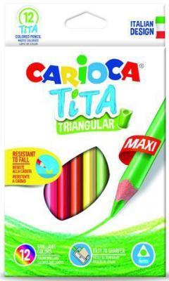 Набор цветных карандашей CARIOCA TITA MAXI 42789 12 шт universal набор карандашей цветных carioca triangular 12 цв трехгранные
