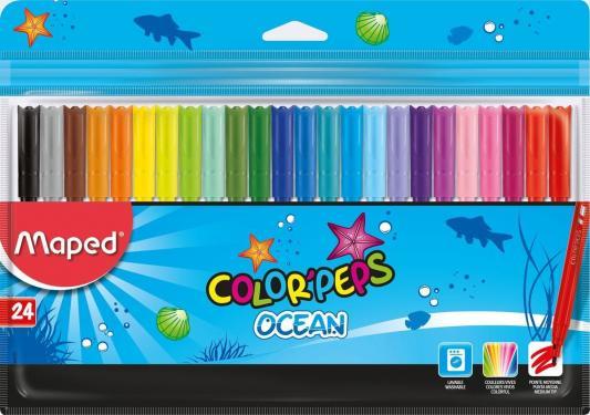 Набор фломастеров Maped Color Peps Ocean 2 мм 24 шт разноцветный 845722 maped карандаши цветные color peps треугольные 12 цветов maped