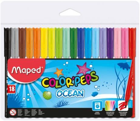 Набор фломастеров Maped Color Peps Ocean 2 мм 18 шт разноцветный 845721 карандаши цветные maped color peps 36 цветов