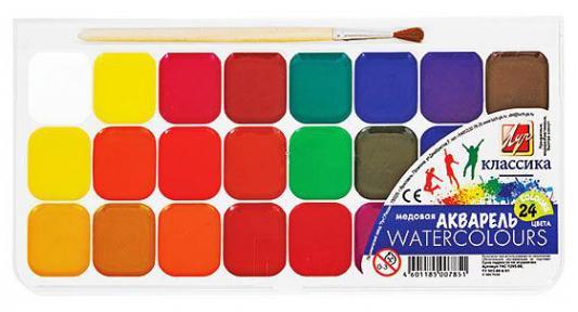 Акварель ЛУЧ Классика 24 цвета 19С1295-08 с кисточкой набор пластилина луч классика 24 цвета