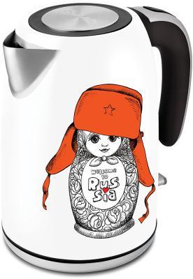 Фото - Чайник Polaris PWK 1815CA 2000 Вт белый рисунок 1.8 л нержавеющая сталь чайник электрический polaris pwk 1762ca city 2200 вт чёрный рисунок 1 7 л нержавеющая сталь