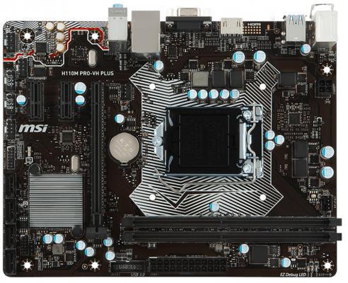 Мат. плата для ПК MSI H110M PRO-VH PLUS Socket 1151 H110 2xDDR4 1xPCI-E 16x 2xPCI-E 1x 4xSATAIII mATX Retail