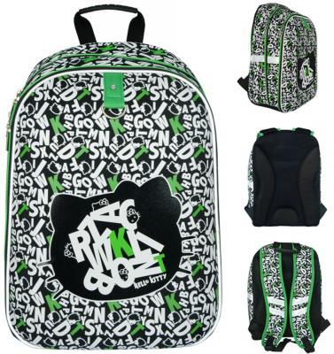 Школьный рюкзак с анатомической спинкой Action! Hello Kitty 17 л черный белый зеленый светоотражающие элементы HKO-ASB4614/2