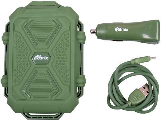 Портативное зарядное устройство Ritmix RM-3499DC 10000мАч зеленый + автомобильная зарядка + кабель
