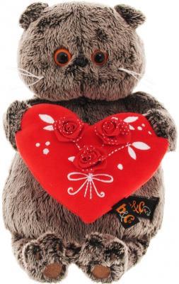 Мягкая игрушка кот BUDI BASA Басик с красным сердечком искусственный мех серый 22 см Ks22-060