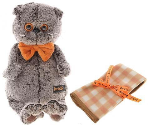 Мягкая игрушка кот BUDI BASA Басик с пледом искусственный мех серый 25 см Ks25-034