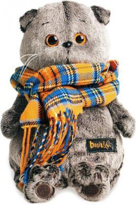 Купить Мягкая игрушка кот BUDI BASA Басик и шарф в клеточку искусственный мех серый 30 см Ks30-002, Животные