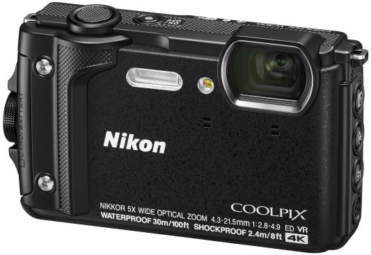 Фотоаппарат Nikon CoolPix W300 16Mp 5x Zoom черный VQA070E1 фотоаппарат nikon coolpix a100 purple 20 1mp 5x zoom sd usb 2 6
