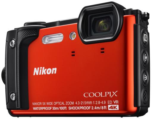 Фотоаппарат Nikon CoolPix W300 16Mp 5x Zoom оранжевый VQA071E1 фотоаппарат nikon coolpix a100 purple 20 1mp 5x zoom sd usb 2 6