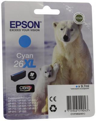 Картридж Epson C13T26324012 для Epson XP-600/605/700/710/800 голубой
