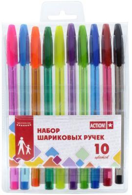 Набор шариковых ручек Action! ABP1001 10 шт разноцветный канцелярия berlingo набор шариковых ручек 10 цветов 10 шт