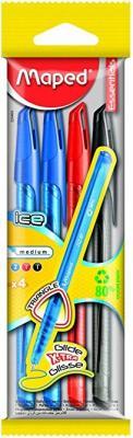 Набор шариковых ручек Maped Green Ice 4 шт синий красный черный 0.6 мм 224404* бутылка 0 4 л asobu ice t 2 go фиолетовая it2go violet