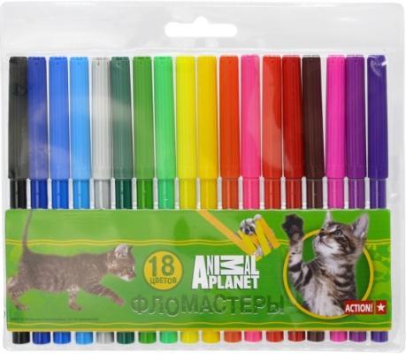Набор фломастеров Action! Animal Planet 18 шт разноцветный AP-AWP129-18 action набор фломастеров action animal planet 18 цветов