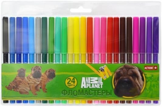 Набор фломастеров Action! Animal Planet 24 шт разноцветный AP-AWP129-24 action набор фломастеров action animal planet 18 цветов