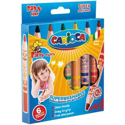 Восковые карандаши CARIOCA BABY JUMBO 6 цветов 6 штук набор фломастеров universal carioca mini jumbo 6 шт разноцветный 40106 6