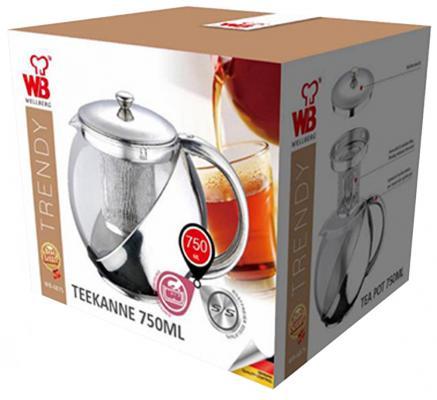 Чайник заварочный Wellberg WB-6875 серебристый 0.75 л металл/стекло от 123.ru