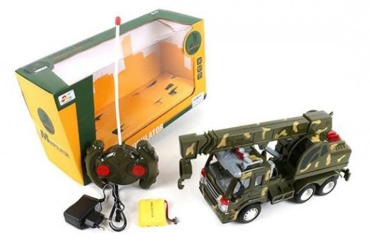Машинка на радиоуправлении Shantou Gepai Военный автокран пластик от 6 лет хаки машинка на радиоуправлении shantou gepai road master бежевый от 3 лет пластик