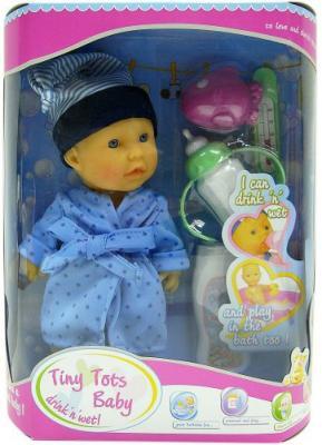 Пупс Shantou Gepai Tiny Tots Baby в голубом халате с аксессуарами (пьет, писает) 23 см пьющая писающая