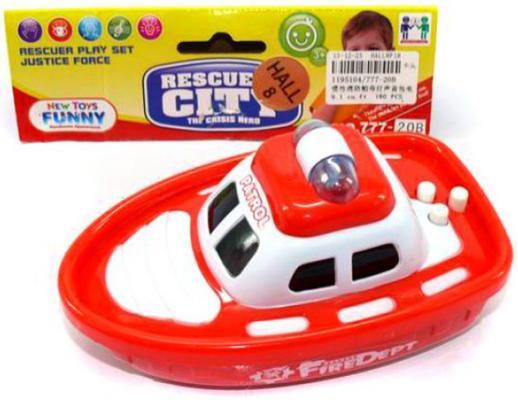 Лодка Shantou Gepai Reskyer City - Патрульная лодка красный 15 см свет, звук, 777-20B водовоз dave инерционный свет звук