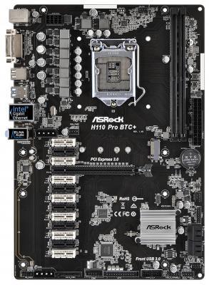 Материнская плата ASRock H110 Pro BTC+ Socket 1151 H110 2xDDR4 1xPCI-E 16x 12xPCI-E 1x 4 ATX Retail