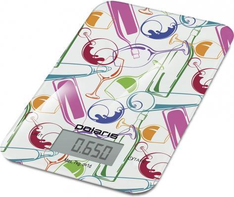 все цены на Весы кухонные Polaris PKS 0741DG Italy белый рисунок онлайн