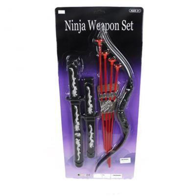 Набор оружия Shantou Gepai Ниндзя, лук, стрелы с присосками 4шт., держатель для стрел, меч, кинжал RZ1393