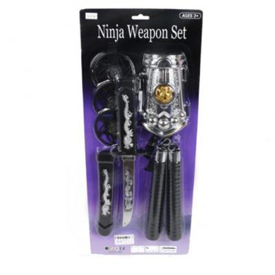 Набор оружия Shantou Gepai Ниндзя, звезды нинзя 3шт., кинжал, нунчаки, защита на руку