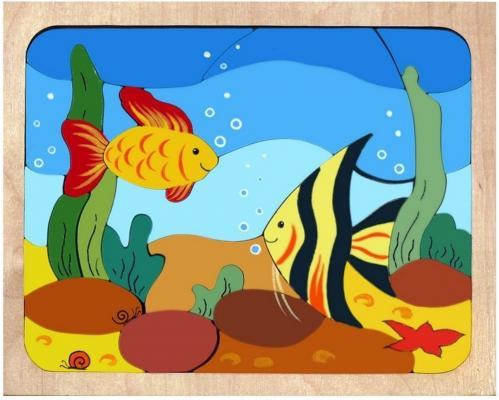 Купить Рамка-вкладыш Крона Рыбки 31 элемент, Развивающие игрушки из дерева