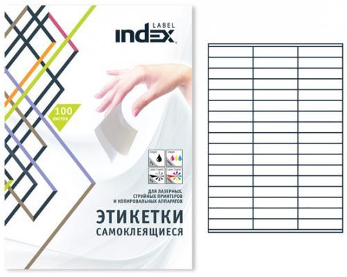 Самоклеящиеся этикетки Index 100 листов 70х16,9 мм белый IL7016 от 123.ru