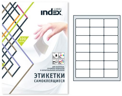 Самоклеящиеся этикетки Index 100 листов 63,5х38,1 мм белый IL6338 от 123.ru