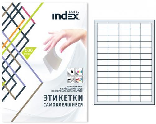 Самоклеящиеся этикетки Index 100 листов 38х21,2 мм белый IL3821 от 123.ru