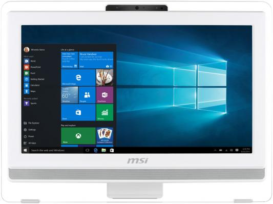 Моноблок 20 MSI Pro 20T 7M-040RU 1600 x 900 Touch screen Intel Core i3-6100 4Gb 1Tb Intel HD Graphics 630 DOS белый 9S6-AA7812-040 моноблок msi pro 16t 7m 009ru 15 6 hd touch cel 3865u 2 4gb 500gb hdg free dos gbiteth wifi bt cam черный 1366x768